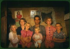 Family in Pie Town, New Mexico. Taken by a Farm Security Administration/Office of War Information photographer, and among some of the only color photographs taken of the effects of the Depression on America's rural and small town populations.