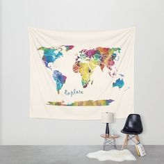 Pin by em on room decor pinterest map artwork vivid colors and world map wall tapestry explore fabric wall art travel dorm world map blue green gold geometric modern dorm decor gumiabroncs Images