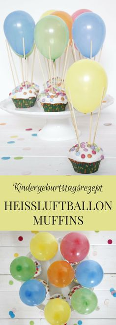 Kids Birthday Cake: These hot air balloon muffins are a creative kid's birthday recipe. The lemon muffins are coated with icing and covered with Smarties. The water bombs provide creative muffins. Muffin Recipes, Cake Recipes, Lemon Recipes, Drink Party, Lemon Muffins, Pumpkin Spice Cupcakes, Food Humor, Funny Food, Creative Kids