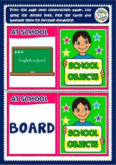 School objects - memory cards