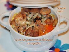 Cocotte de potimarron et châtaignes au roquefort