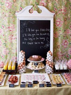 Cute buffet brunch idea, love the chalkboard