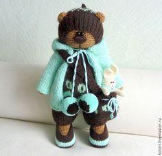 Гриша - вязаная игрушка,мишка,мишка вязаный,подарок,игрушка вязаная,50% шерсть 50% акрил