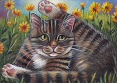 Tabby Kitty Spring Painting