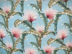 Tropical Fronds & Tassels Barkcloth ~ Blue Background <3