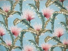 Tropical Fronds & Tassels Barkcloth ~ Blue Background <3