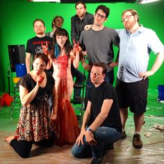 "The BrainStuff cast and crew after shooting ""Why Is Blood Red?"" Looks like they learned why -- and how!"