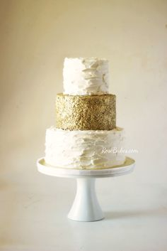 50th Wedding Anniversary Gold Sequins Rustic Buttercream Cake with Gold Edible Sequins | RoseBakes.com