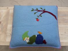 Pillow, sleeping gnome with apple tree, wool by Kyroushka / Eexterhout, via Flickr