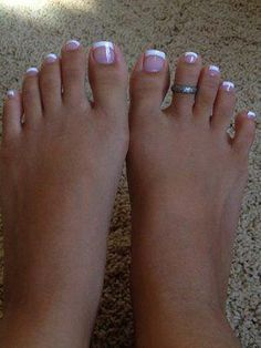 43 best french manicure toes images in 2019 French Toe Nails, French Tip Pedicure, French Manicure Toes, French Toes, Pink Toe Nails, French Pedicure Designs, Pretty Toe Nails, Toe Nail Color, Cute Toe Nails