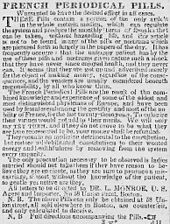 """1840 - 1873 Contraceptives and potions to cause miscarriage or """"bringing down the menses"""" are openly, but euphemistically, advertised in the US."""