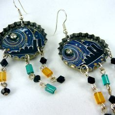 Upcycled Sapporo Bottle Cap Earrings featuring New by JinxyBazaar, $17.00