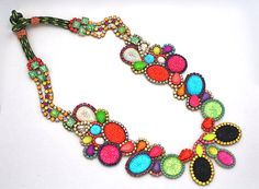 Seurat in Color Block-  One of a Kind Statement Necklace