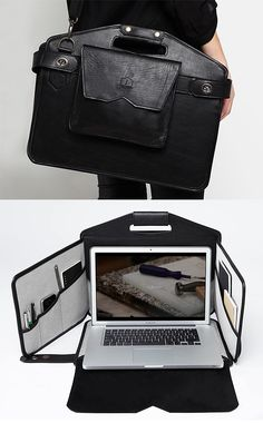 Tech gadgets holidays La Fonction Mobile Workstation - Disguised as a stylish brief, it quickly converts to a pop-up mobile workstation offering privacy for your computer and plenty of pockets. Gadgets And Gizmos, Technology Gadgets, Tech Gadgets, Cool Gadgets, Leather Craft, Leather Bag, Leather Briefcase, Rangement Art, Alter Computer