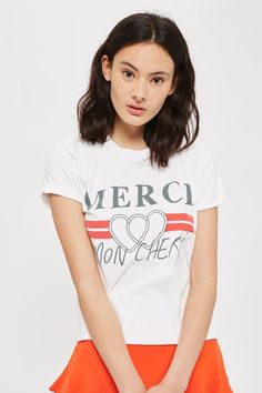 b7b78d1a Merci Graphic Print T-Shirt Petite Outfits, Chic Outfits, Topshop T Shirts,