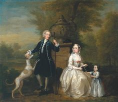 William Hogarth - Ashley Cowper with his Wife and Daughter, Tate Collection William Hogarth, Old Paintings, Beautiful Paintings, Landscape Paintings, English Artists, French Artists, Romanticism Artists, Tate Britain, Art Uk