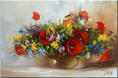 Malarstwo i Fotografia - Ewa Bartosik: Kwiaty Polne Daisies, Sunflowers, Kitsch, Floral Arrangements, Paintings, Beauty, Vases, Angel Wings, Palmas
