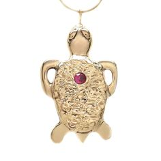 Michele Benjamin Women's 18K Gold Plated Ruby Tortoise Pendant Necklace [Lab Grown] 18 Inch: Michele Benjamin: Amazon.ca: Jewelry