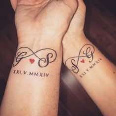 #hisandherstattoos #coupletattoos #infinitytattoos #initialstattoos #weddingdate #husbandandwife @domgrahamtattooist @sorrymumstudio @stevie_storm