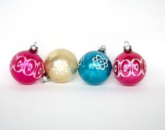 Atomic Christmas Ornaments -- Vintage Glass Christmas Ornaments -- Mid Century Modern Home Decor
