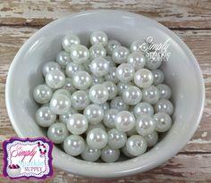 White Pearl 12mm Beads Gumball Beads Chunky Beads Resin Beads Round Beads Plastic Beads Bubblegum Beads Bubble Gum Beads
