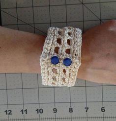 Crochet cuff bracelet hand spun Egyptian cotton crochet art
