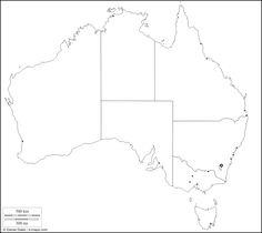 Australia : free map, free blank map, free outline map, free base map : limits, states, territories, names (white)