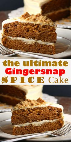 Gingersnap Spice Cake Gingersnap Spice Cake Every Thanksgiving, my whole extended family on my mom's side gets together to celebrat. Healthy Dessert Recipes, Just Desserts, Delicious Desserts, Yummy Food, Spice Cake Recipes, Healthy Cake, Smoothie Recipes, Christmas Desserts, Christmas Baking