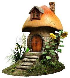 fairy house: Fairy mushroom house Stock Photo