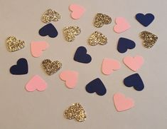 225 Heart Confetti Pink Navy Gold Confetti by JBPartyCreations