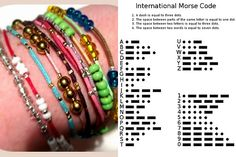DIY Morse Code Bracelets Using Crimp Beads Tutorial from Teahab here. If you've followed my blog you will know that I gave morse code necklaces as gifts last winter based on Thanks, I Made It's Tutorial I posted here (and included the above Morse Card Chart with each necklace).  For the Morse Code Chart go here, or for one with abbreviations and ft vpunctuation marks go here. Also you can use the military phonetic alphabet here or here.