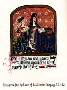 Margaret d'Anjou,illumination from the Books of the Skinners Company,c. 1422