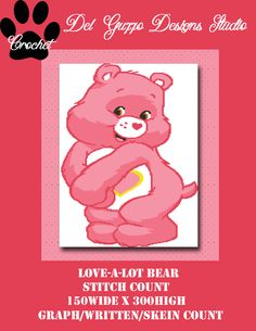 (4) Name: 'Crocheting : Care Bears Love-a-Lot Bear 150x300 Twin