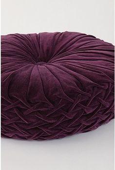 Velvet Purple Smocked Large Floor Pillow