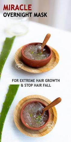 MIRACLE OVERNIGHT HAIR MASK - LITTLE DIY - Stunted hair growth is common these days especially if you stay near MIDC areas that have lot of pollution. Clogged hair follicles, stress, frequent hair styling, nutrient-deficient diet etc. Natural Hair Care, Natural Hair Styles, Overnight Hair Mask, Extreme Hair Growth, Overnight Hairstyles, Aloe Vera For Hair, Diy Hair Mask, Healthy Hair Tips, Hair Remedies