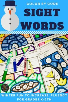 Looking for some no-prep winter literacy activities to keep 'em busy ( I MEAN ENGAGED while increasing reading fluency? This differentiated bundle of color by code sight word printables are perfect for your January morning work, literacy centers, inside recess days, fast finisher activities and so much more! #literacycenters #winteractivitiesforkids #sightwordactivities #sightwords #colorbycode #reading #fluency