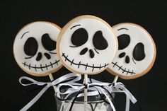 "I love the movie ""The Nightmare before Christmas"" so I wanted to try and make some cookie lollies with the pumpkin king Jack Skellington from Halloween town. He was pretty simple to make with only two colours involved. Its sugar cookies decorated with rolled fondant icing. His mouth was painted with gel paste. Sometimes it…   [read more...]"