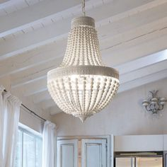 MONET Lysekrone i træ og metal cm 5 x - Antik grå Ceiling Fans Without Lights, Led Ceiling Lights, Room Lights, Ceiling Lamp, Wood Bead Chandelier, 5 Light Chandelier, Pendant Lighting, Chandeliers, Monet