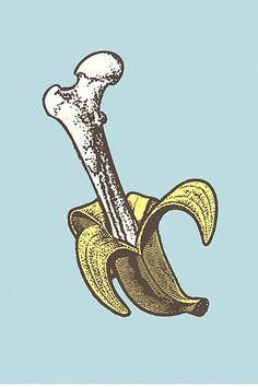 Boneana #art #screenprint #banana_peel
