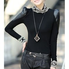 Wholesale Casual Stand Collar Long Sleeve Lace Splicing Cut Out T-Shirt For Women Only $7.83 Drop Shipping | TrendsGal.com