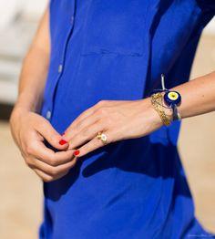 Style story, red nails, pinky ring, bracelets, silk dress / Garance Doré