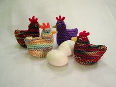 A long time ago I knitted chicken egg cozies, like the ones featured here, to cover hard boiled or plastic eggs for my kids at Easter for t...