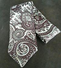 "liberty of london mens burgundy+ivory SILK classic paisley necktie 3.5 x 57"" tie"