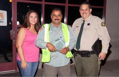 Moreno Valley Chief of Police, Joel Ontiveros joined the Waste Management team at 5:00 a.m. this morning to surprise WM Driver Alfredo Camacho with a special award in recognition of his heroic actions while working his regular route. Featured in the photo: Camacho in middle, Police Chief Ontiveros and Julie Reyes, Community Relations Manager.    Camacho received a special Corporate Security Award from WM for reporting the attempted child abduction in the city of Moreno Valley, California.