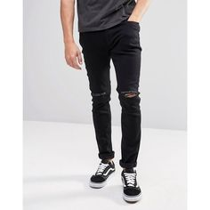 Produkt Super Skinny Jeans with Rips ($32) ❤ liked on Polyvore featuring men's fashion, men's clothing, men's jeans, black, mens skinny fit jeans, mens torn jeans, mens flap pocket jeans, mens destroyed jeans and mens distressed skinny jeans