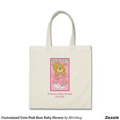 Customized Cute Pink Bear Baby Shower Tote Bag