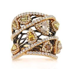 2.80ct Fancy Color Pear Shaped and Trillion Cut Diamond Right-Hand Ring