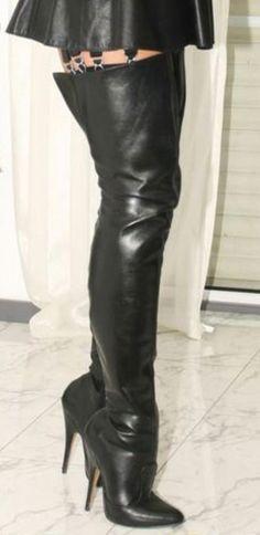 Transwen Damen Overknee Stiefel Wasserstiefel Vintag