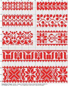 Magyar Népművészet XIV. Borsod megyei keresztszemes hímzések, 5. számú mintaív Cross Stitch Borders, Cross Stitch Charts, Cross Stitching, Cross Stitch Embroidery, Embroidery Patterns, Cross Stitch Patterns, Modern Embroidery, Mini Christmas Stockings, Hungarian Embroidery