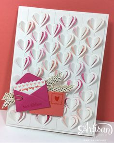 by Martha: Sealed with Love, Love Notes Framelits, Mini Paper Clips, Metallic Ribbon (SAB Watercolor Pencils - all from Stampin' Up! Love Valentines, Valentine Day Cards, Holiday Cards, Valentine Ideas, Stampin Up Katalog, Slider Cards, Love Stamps, Heart Cards, Up Girl